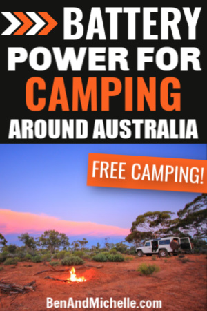 Pin showing RV and campfire with text overlay: Battery power for camping around Australia.