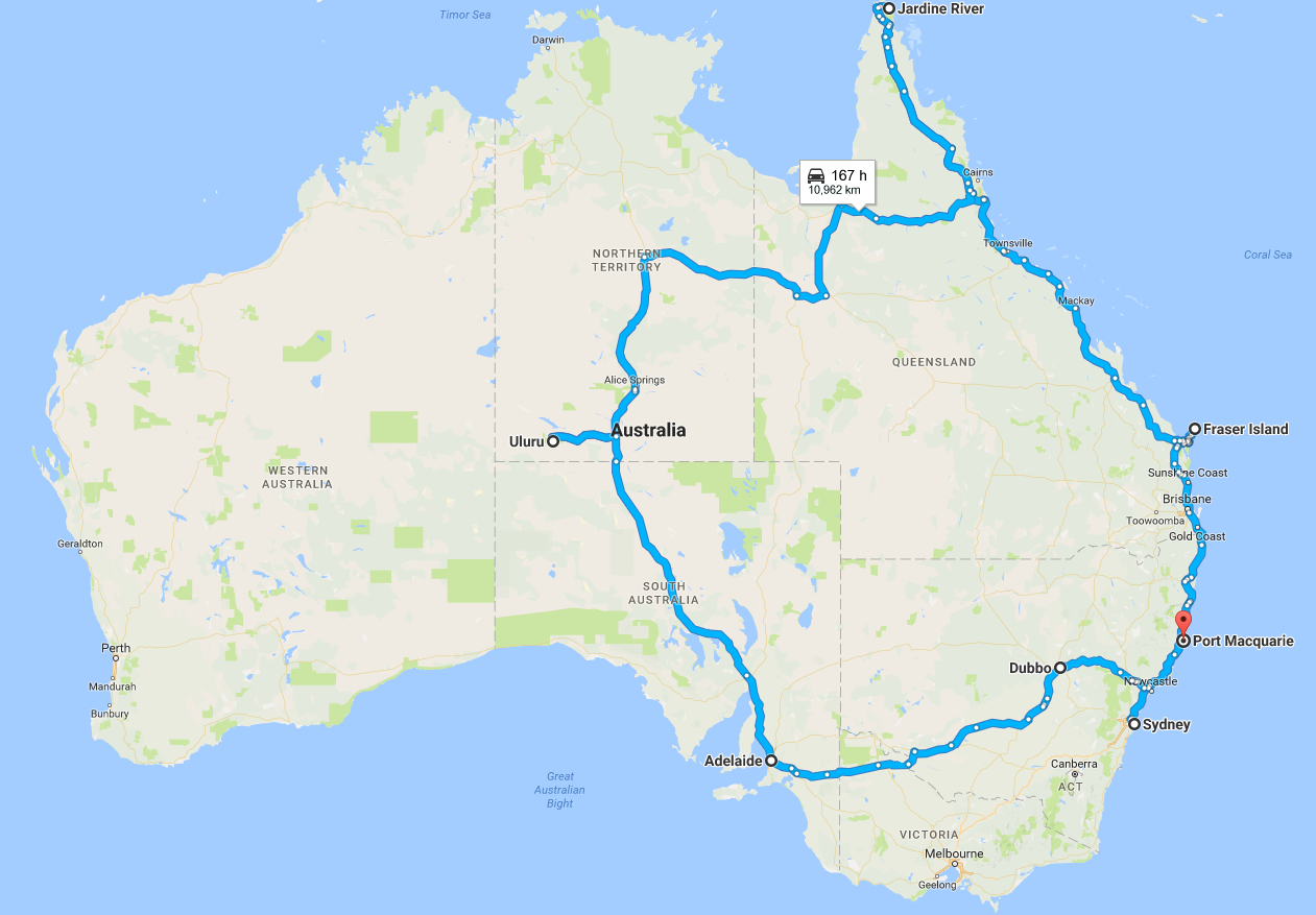 When Plans Change - our current planned route around Australia.