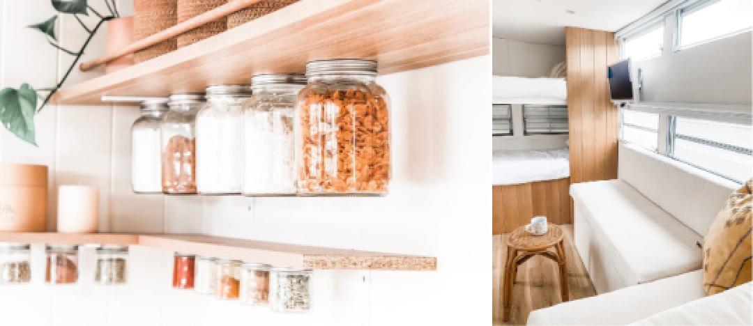 Spice rack and caravan bunk beds