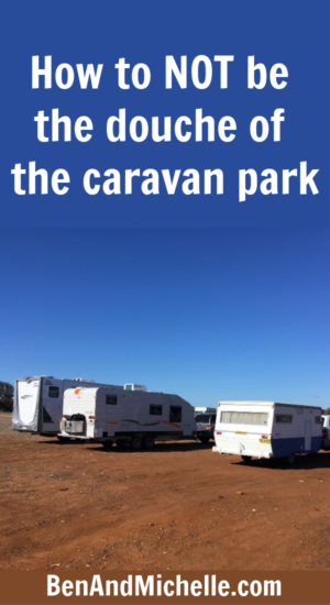 Caravans and motorhome lined up side by side