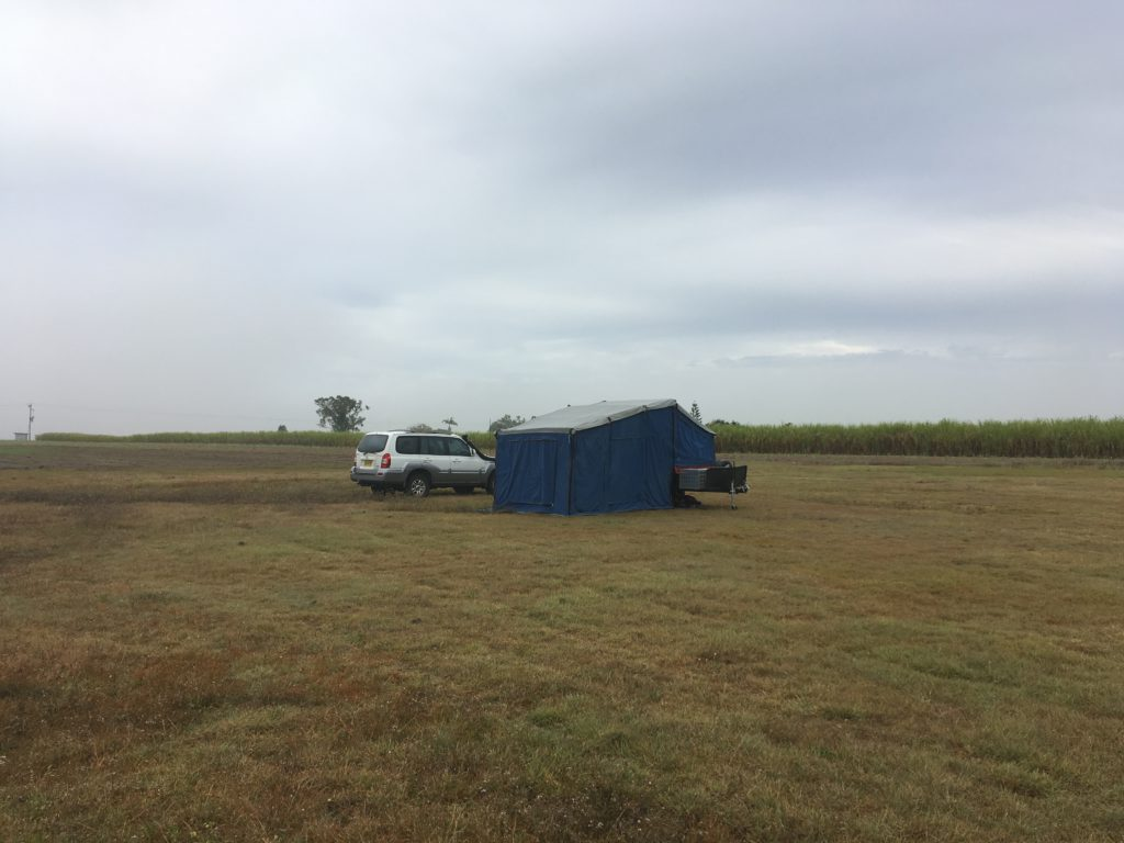 Camper trailer in a field - Free camp at Gargett Rodeo Grounds, QLD