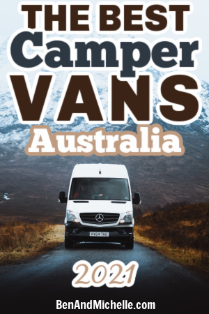 White campervan in front of mountain, with text overlay: Best small campervans Australia 2021