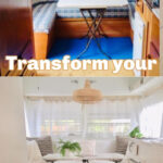 Top image of old style caravan dining area with image below of same area renovated with white decor. Text overlay: Transform your caravan kitchen.