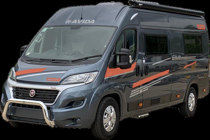 Grey Avida Escape campervan with orange highlights