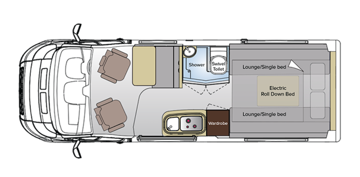 Floor plan of the Avida Escape campervan