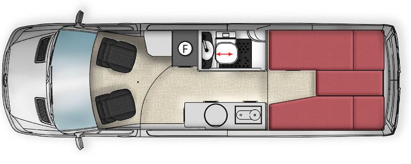Floorplan of the Trakka Jabiru camper van