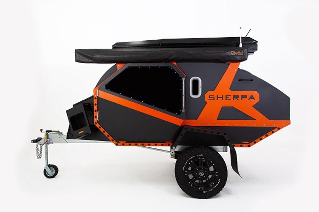 Side view of a rugged off road teardrop camper