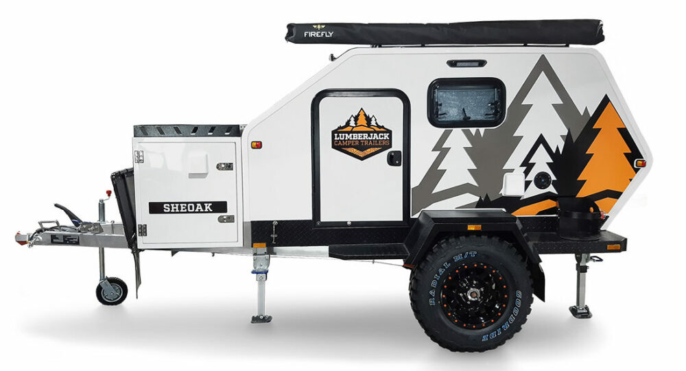 Sideview product photo of the Sheoak off road teardrop camper by Lumberjack
