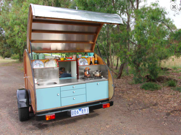 Kitchen in the rear of a tear drop camper