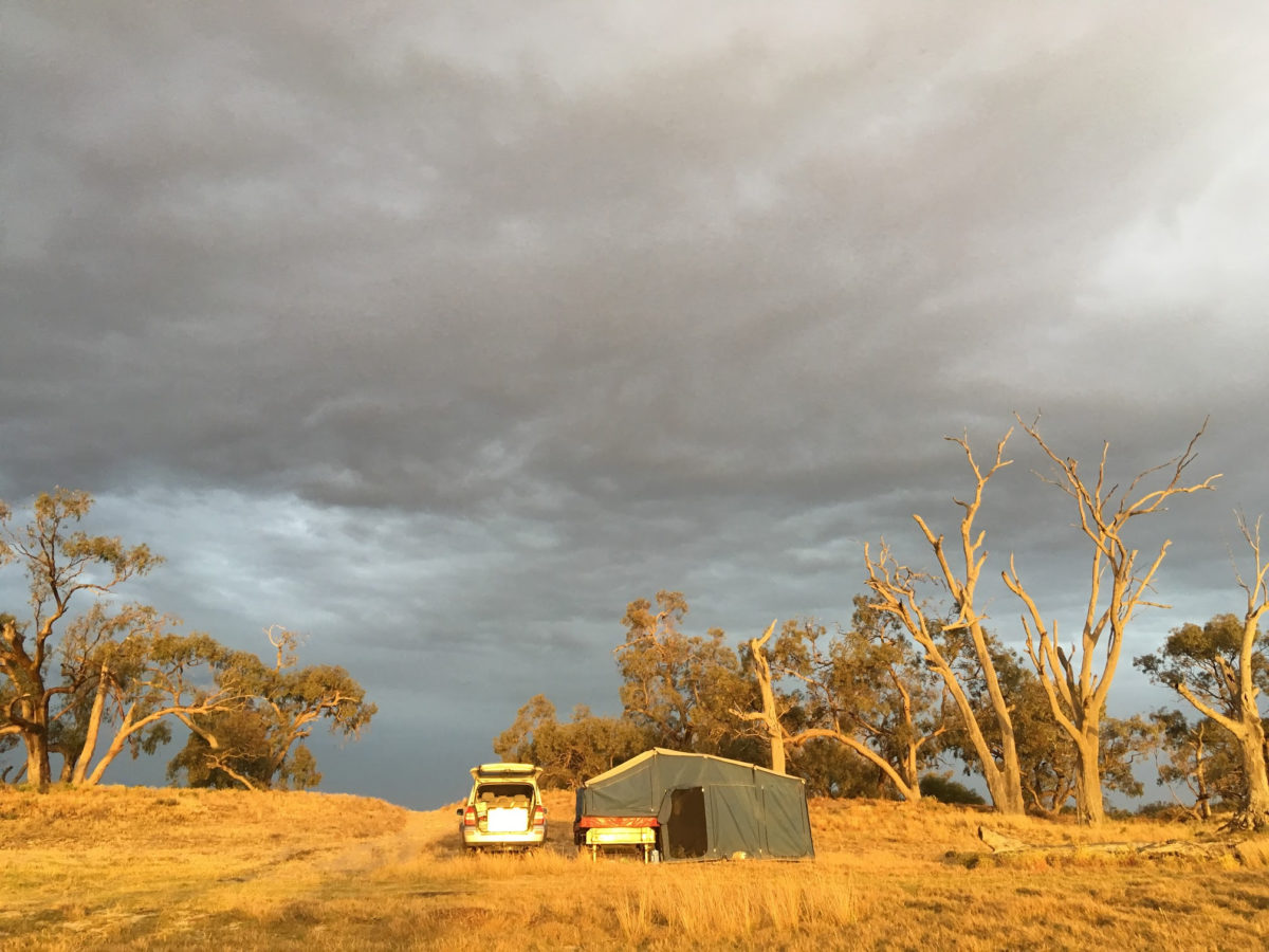 Car and tent at free camp in South Australia