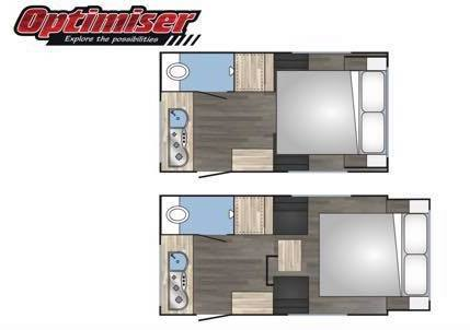 Floor plan of the Optimiser caravan