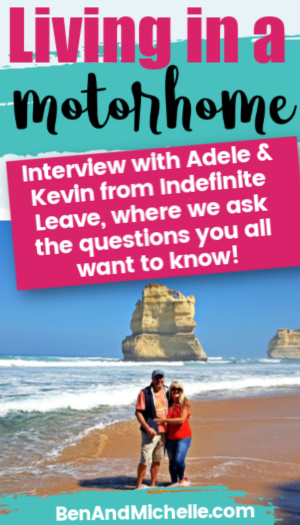 Couple standing on beach with text overlay: Living in a motorhome