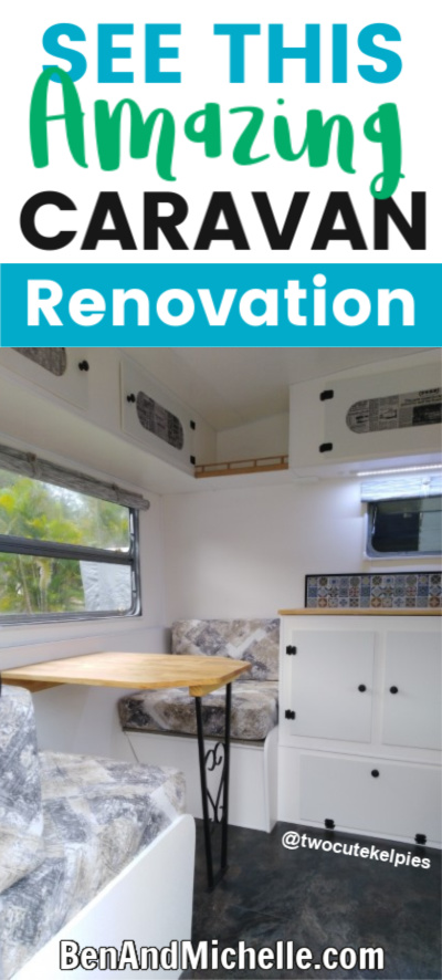 Pin showing the interior of a renovated caravan with the caption: See this amazing caravan renovation