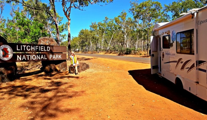 Motorhome stopped beside the sign for Litchfield National Park