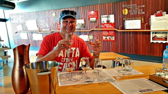 Man at bar with beer tastings
