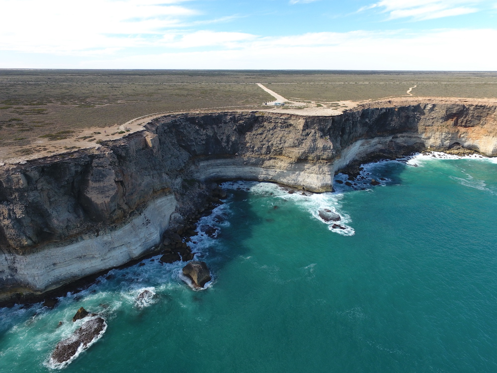 Aerial view of the cliff coastline of the Great Australian Bight.