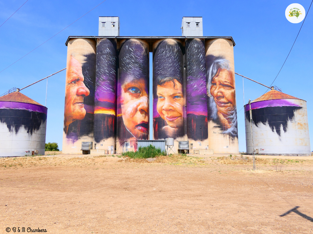 Grain silos in Australia with vibrant paintings on the side