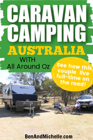 Caravan camp with text overlay: Caravan camping Australia