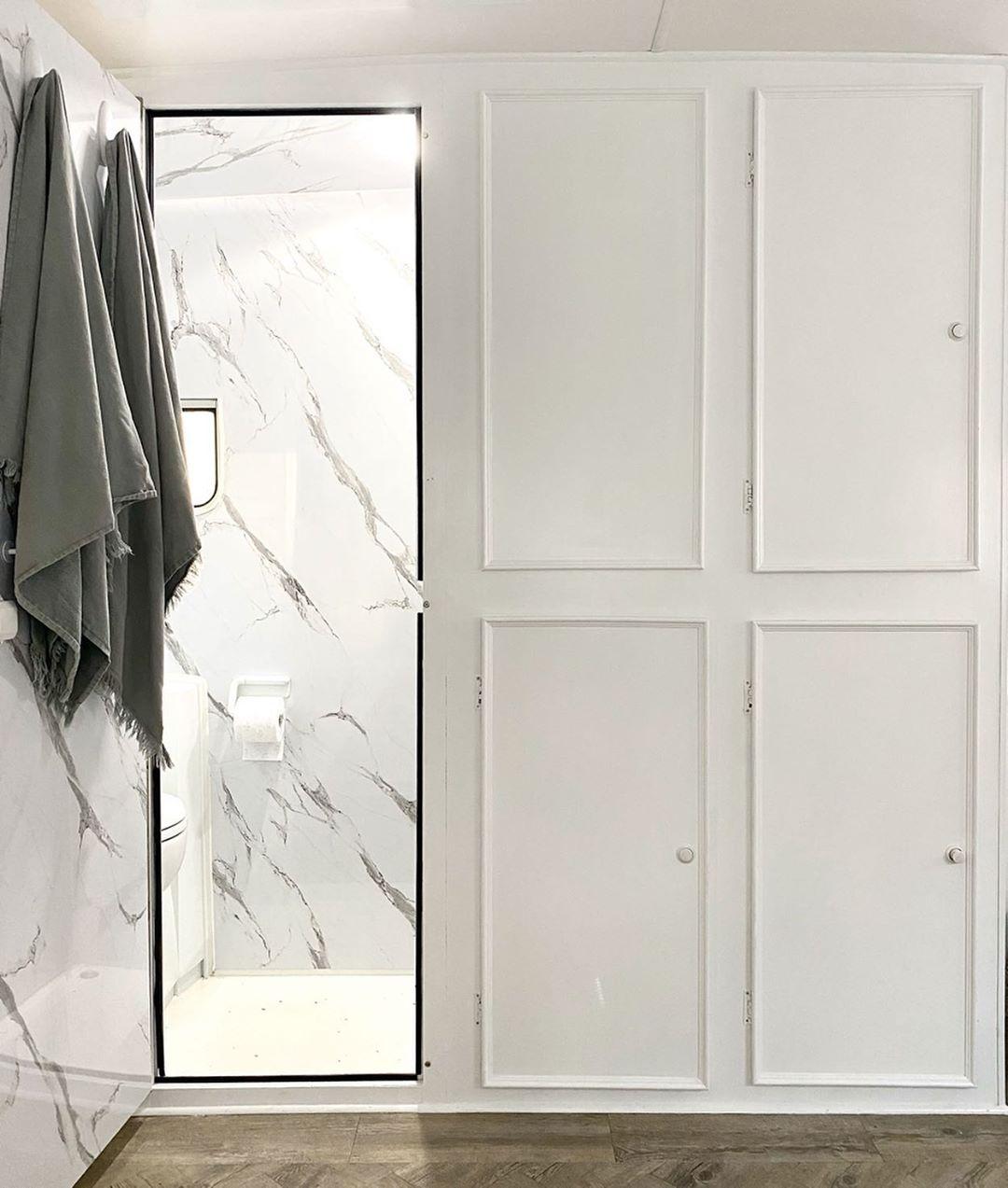 White bathroom in caravan