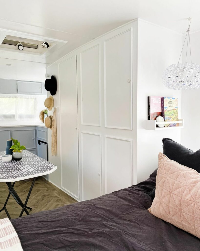 White interior of a vintage caravan that's been renovated