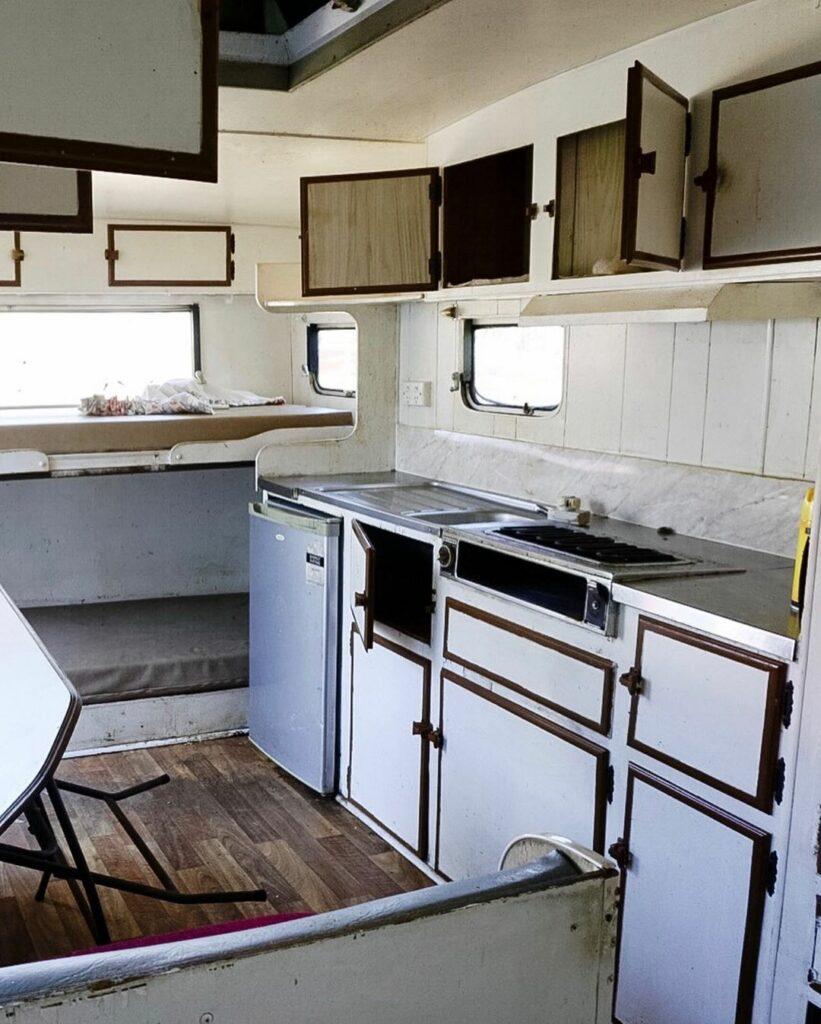 Old kitchen inside a vintage caravan