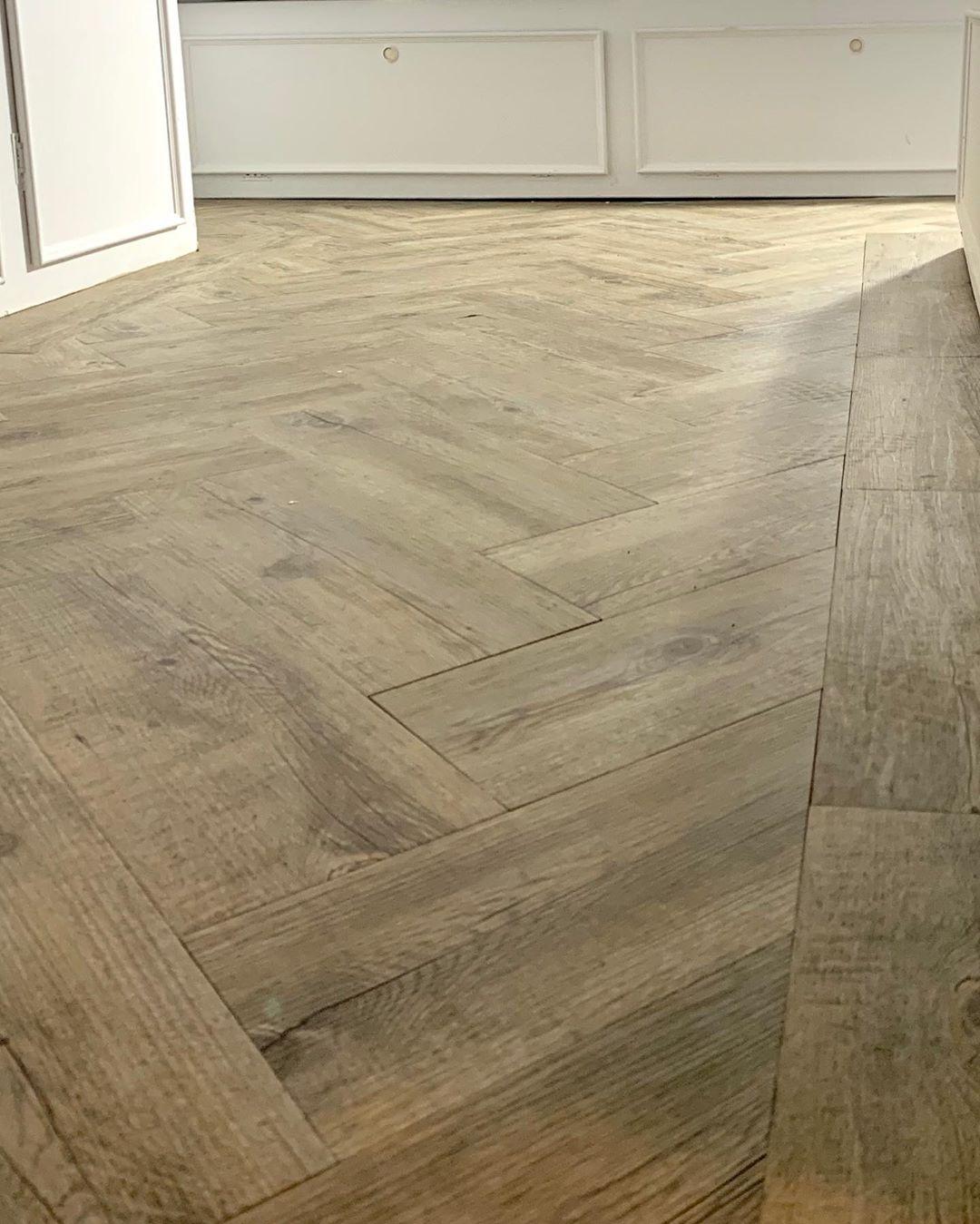 Herringbone pattern on the floor of renovated caravan