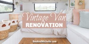 Bedroom of a renovated caravan with text overlay: Vintage van renovation