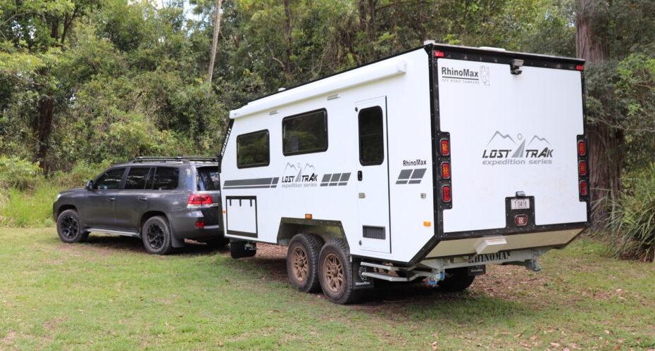 White Rhinomax Lost Trak off road caravan.