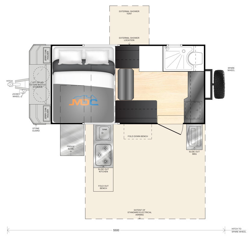 Layout of the MDC XT12HR off road camper.