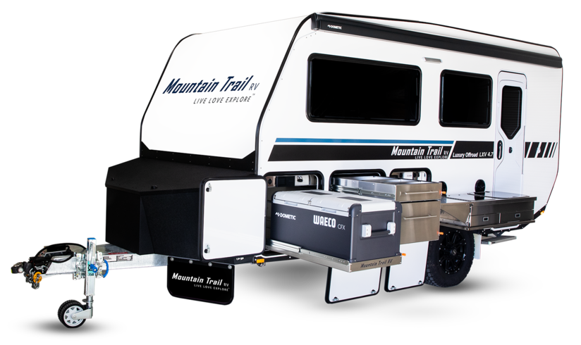Promo pic of the Mountain Trail LXV 4.7 off road caravan.