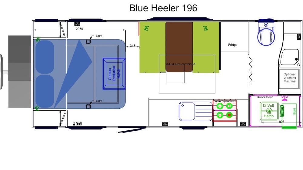 Floorplan of a Sunland Blue Heeler off-road caravan.