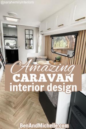 Renovated interior of a caravan with text: Amazing caravan interior design.