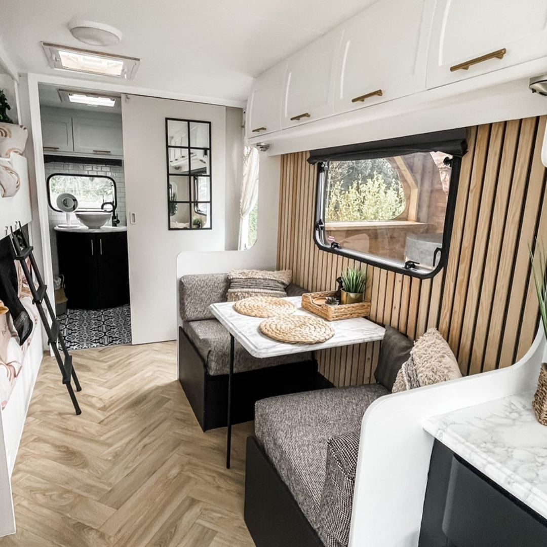 Dining area in a newly renovated caravan.