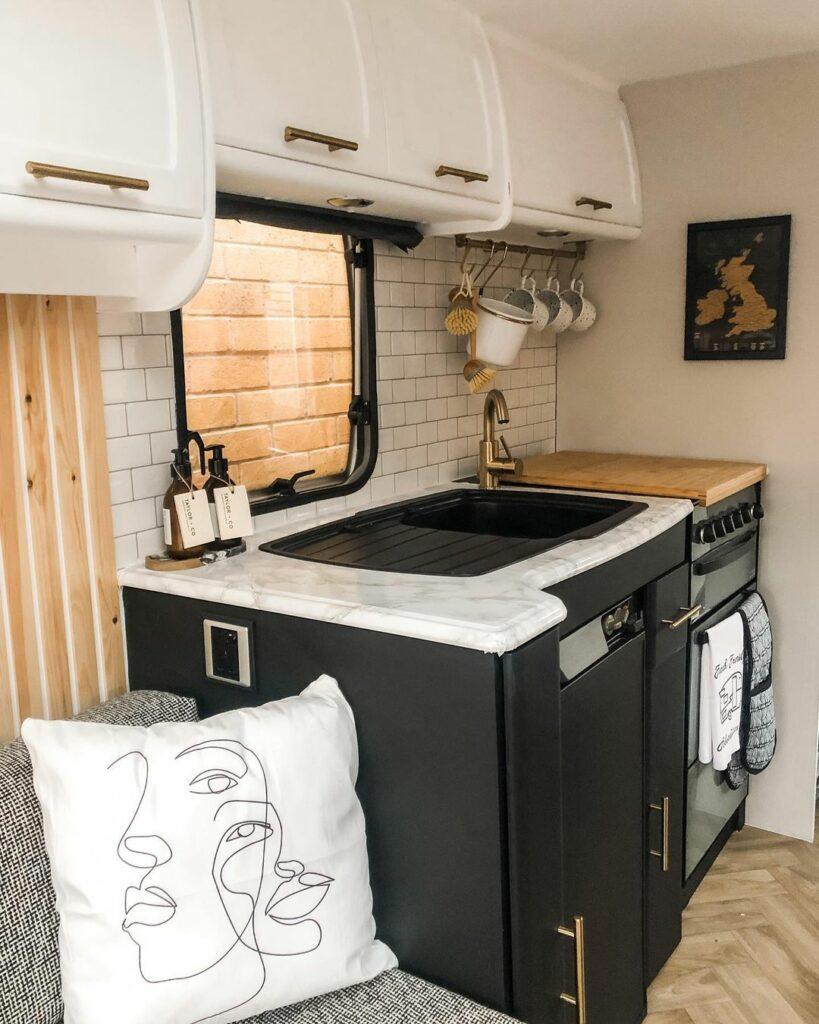 Caravan kitchen after renovation.