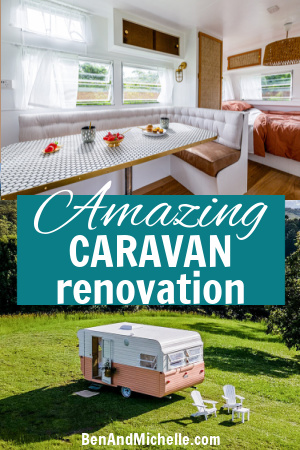 Renovated vintage caravan interior view and exterior view, with text: Amazing caravan renovation.