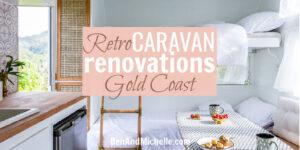 Bunk beds inside a renovated caravan, with text: Retro caravan renovations Gold Coast.